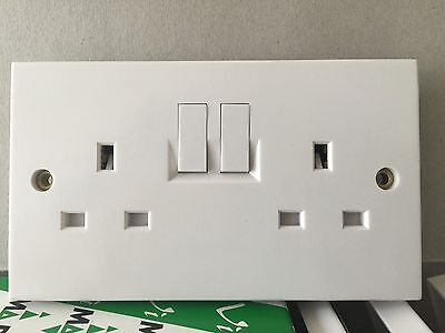 10 X 2 Gang Sockets 13amp Twin Double White Switched Wall Sockets