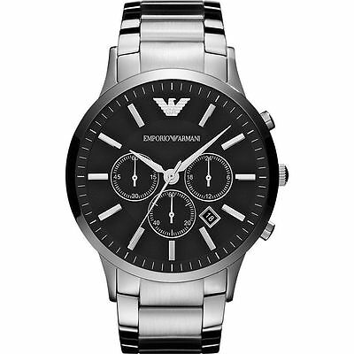 New Emporio Armani Ar2460 Mens Steel Chronograph Watch - 2 Years Warranty