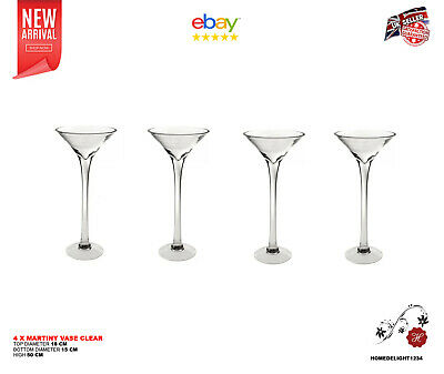 "4 x 50cm 19.7"" Martini Glass Vase Table Centrepiece Wedding Decorations"