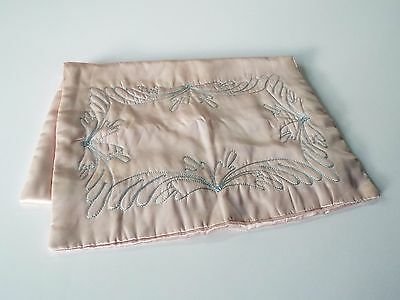 VTG 1930's Satin Lingerie Bag Pouch Embroidered Pajama Slip Keeper Pillow