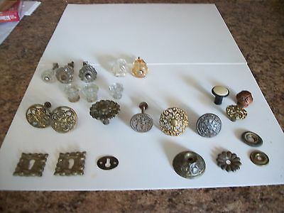 Antique Drawer Knobs, Key Hole Plates, Round Rosette