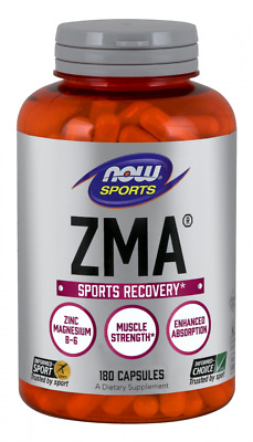 NOW Sports ZMA 180 Capsules Sports Recovery Zinc Magnesium Vitamin B-6 03/2021