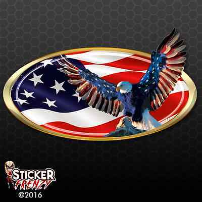 Usa Oval Eagle Decal Fs250 American Flag Frame Car Truck Camper