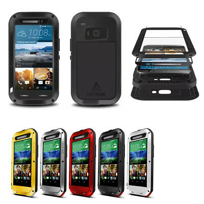 Heavy Duty Metal Shockproof Waterproof Case Cover Glass Screen Protector for HTC