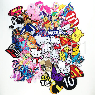 VARIOUS KIDS CHARACTER PATCHES Iron Sew On Patch Badge SUPERHERO FANCY DRESS #A