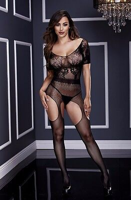 3133 Short Sleeve Crotchless Suspender Bodystocking Sexy Lingerie Baci OS Plus