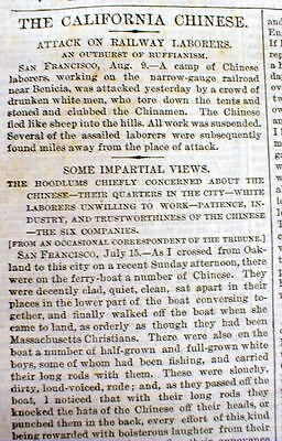 1873 newspaper CHINESE RAILROAD TRACK WORKERS attacked by RACIST WHITE laborers