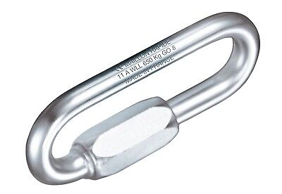 7mm Oval Long Opening Maillon Rapide - Galvanised Steel 25KN PPE Caving, Rigging