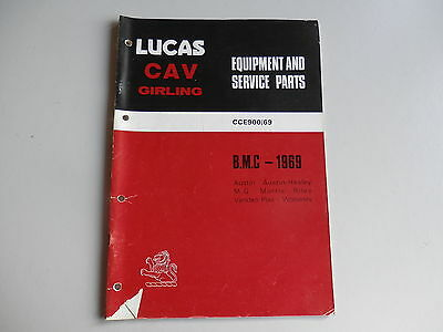 LUCAS Parts List 1969 Austin Morris MG Riley Wolseley VDP Austin-Healey Mini