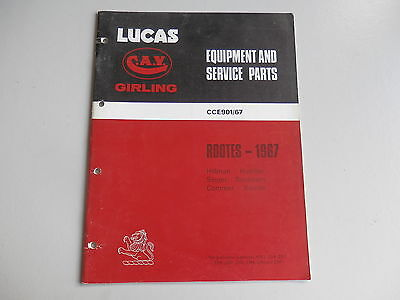 LUCAS Parts List 1967  HILLMAN HUMBER SINGER SUNBEAM COMMER KARRIER Rootes