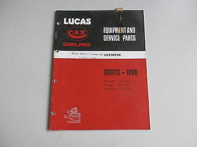 LUCAS Parts List 1966  HILLMAN HUMBER SINGER SUNBEAM COMMER KARRIER Rootes