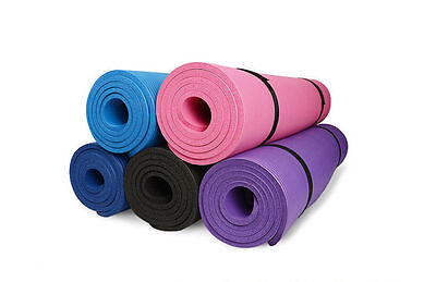Non Slip Extra 183*61cm 10/15mm Thick Exercise Yoga Mat Pilate Blue Pink Green