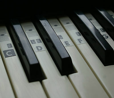 Piano Keyboard Music Note Stickers (for all types keys) Transparent Vinyl