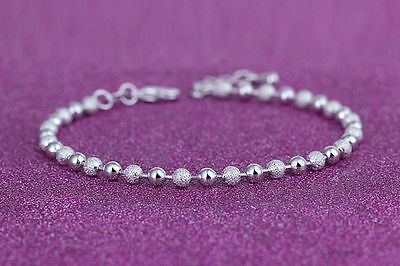 925 Sterling Silver Sparkle and Shine Round Beads Anklet Ankle Bracelet - UK