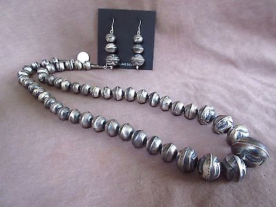 Native Navajo Sterling Silver Navajo Pearls Graduated Necklace & Earrings JN0113