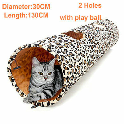Pet Cat Tunnel Toys Leopard Print Crinkly Foldable 2 Holes Long Tunnel Cat Play