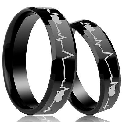 Titanium 8MM 6MM Size 5-15 Heartbeat Cardiogram Wedding Engagement Ring Set Band