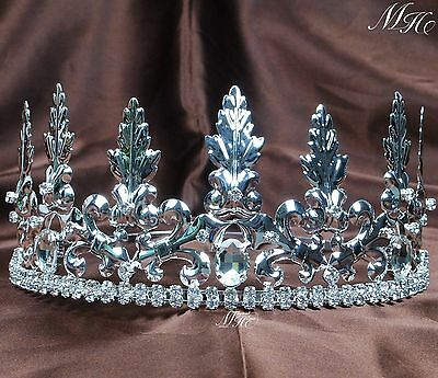 Noble King Tiara Diadem Imperial Medieval Men Crown Silver Pageant Party Costume
