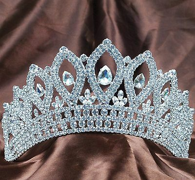 "Stunning Tiara 3.5"" Crown Clear Rhinestones Wedding Bridal Miss Pageant Party"