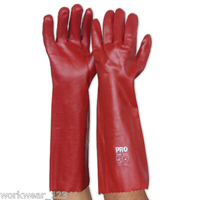 Pvc Red Gloves Single Dipped Oil And Chemical Resistant 45 Cms Long Prochoice