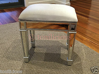 Mirrored Makeup Stool/Chair for make up dressing table - Champagne Silver