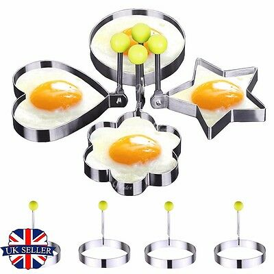 4pcs Stainless Steel Frying Pan Fried Egg Pancake Cooking Ring Mould Shaper Mold