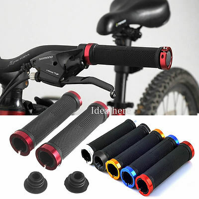1 Pair Double Lock On Handle Bar Grips BMX MTB Mountain Bike Cycle Bicycle Grip