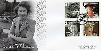 British Indian Ocean Ter BIOT 2016 FDC Queen Elizabeth II 90th Bday 4v Set Cover