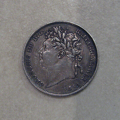 Silver Shilling 1824 Coin King George Iiii Good Very Fine Grade Toned