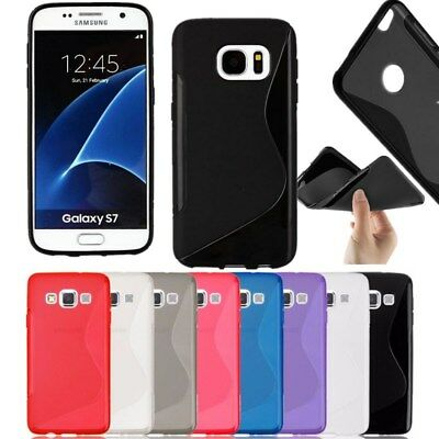 S-Line Soft Silicon Gel Case Cover For Samsung Galaxy S7 + Free Screen Protector