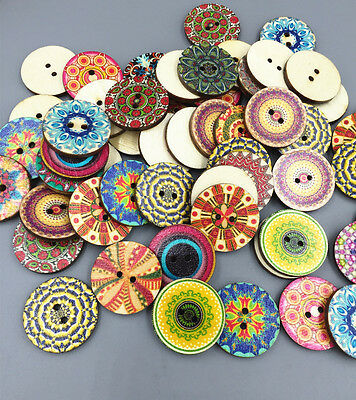 NEW Round sewing scrapbook decorative pattern wooden buttons Mixed pattern 25mm