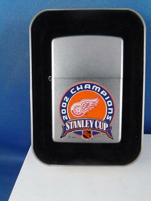 Zippo Lighter Detroit Red Wings Stanley Cup 2002 Champions Nhl Hockey Sealed New