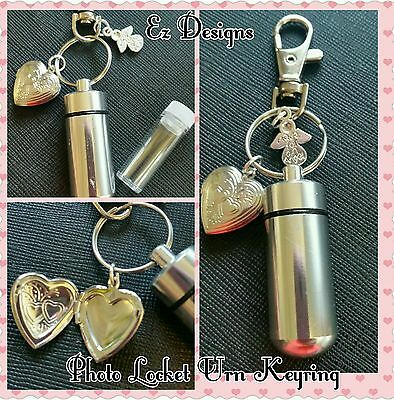 Cremation Jewellery./Ashes/keepsake Urn Keyring  Memorial Gift Photo Locket inc
