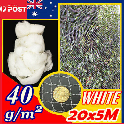 20M x 5M  Knitted Anti Bird Netting White Mesh Commercial Plant Fruit Tree Pest