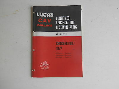 LUCAS Parts List 1972  HILLMAN HUMBER SUNBEAM COMMER DODGE KARRIER CHRYSLER