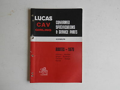 LUCAS Parts List 1970 HILLMAN HUMBER SINGER SUNBEAM COMMER DODGE KARRIER Rootes