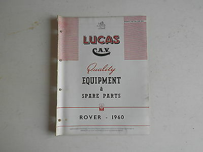 LUCAS Parts List 1960 ROVER 80 100 3 Litre and LAND ROVER