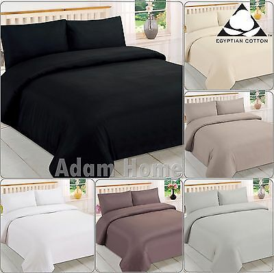 Egyptian Cotton Percale 200 Thread Duvet Cover, Flat Sheets,Pleated Base Valance
