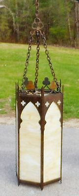 "Antique Arts & Crafts Gothic Style Iron & Slag Glass 33"" Chandelier c. 1920"