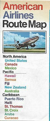 1973 AMERICAN AIRLINES Jet System Map United States West Indies Australia Hawaii