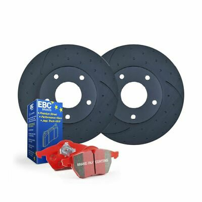 DIMPLED SLOTTED FRONT DISC BRAKE ROTORS+EBC PADS for AUDI S3 2.0L Turbo 2006 on