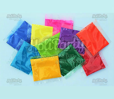 50 x 100g packets 10 colours holi powder bundle colour run throwing powders - Color Packets