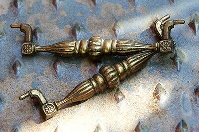 Pair of Ornate Heavy Brass Antique Vintage Drawer Pulls