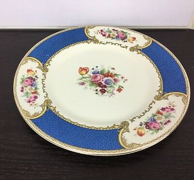"""The Bouquet"" Dinner Plate MYOTT Straffordshire Royal Blue & Cream Fast Ship"