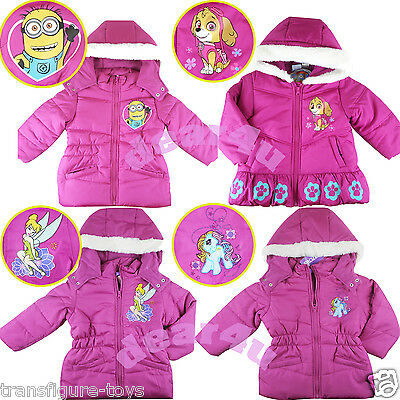 Girls Minion Paw Tinkerbell pony thick hoodie jacket lining coat outfit size 2-8