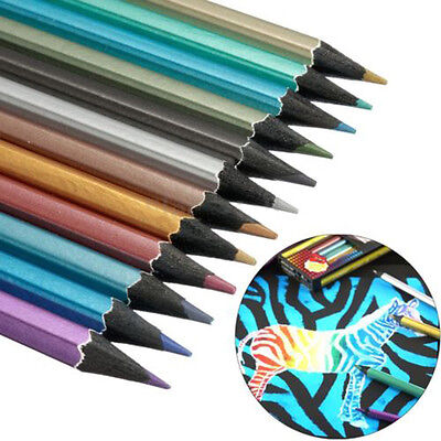 12 Colors Metallic Shine Non-toxic Colored Drawing Sketching Sketch Pencil
