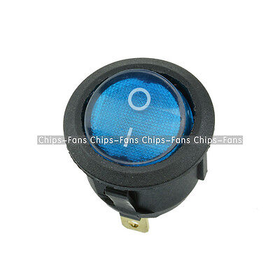 5PCS Mini Switch Round Blue 3Pin SPDT ON-OFF Rocker Snap-in