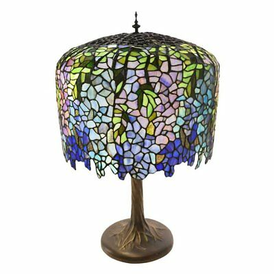 "River of Goods 30.25"" Tiffany Style Grand Wisteria Table Lamp with Tree Trunk Ba"
