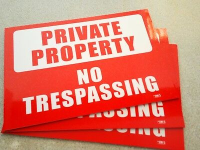 Private Property No Trespassing Pack of 3 Metal Safety Sign 300x225mm Offer