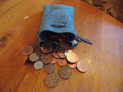 Medieval/Larp/SCA/Pagan/Reenactment Grey Leather DRAWSTRING/MONEY/POUCH/BAG/LRG